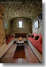 arches, archways, europe, france, materials, moulin de camandoule, provence, rooms, sitting, stones, structures, vertical, photograph