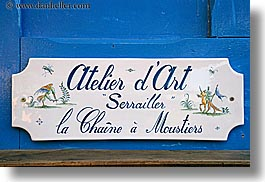 arts, blues, colors, europe, france, horizontal, moustiers, provence, signs, st marie, stores, photograph
