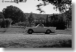 arts, black and white, cars, classic car, convertible, europe, fast, france, horizontal, moustiers, provence, st marie, transportation, photograph