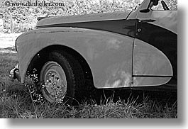 arts, black and white, classic car, europe, france, horizontal, moustiers, peugeot, provence, st marie, transportation, trucks, photograph