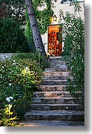bastide moustiers, doorways, europe, france, moustiers, plants, provence, st marie, stairs, structures, vertical, photograph