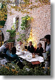 bastide moustiers, branches, dining, dinner, dusk, europe, foods, france, moustiers, nature, plants, provence, st marie, tourists, trees, vertical, photograph