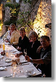 bastide moustiers, dining, dinner, dusk, europe, foods, france, moustiers, provence, st marie, tourists, vertical, photograph