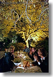 bastide moustiers, dining, dinner, europe, foods, france, moustiers, nite, provence, st marie, tourists, trees, under, vertical, photograph