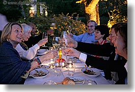 bastide moustiers, champagne, dinner, dusk, europe, foods, france, horizontal, moustiers, provence, st marie, toasting, tourists, wine glass, wines, photograph