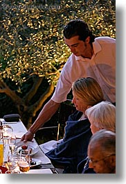 bastide moustiers, desserts, dinner, dusk, europe, foods, france, moustiers, provence, serving, st marie, vertical, waiter, photograph