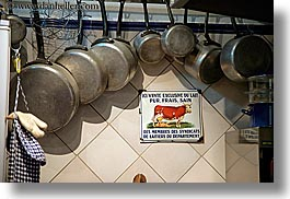 cooking, cows, europe, france, horizontal, hotels, moustiers, pots, provence, signs, st marie, photograph