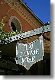 europe, france, hotels, la ferm rose, moustiers, provence, signs, st marie, vertical, photograph