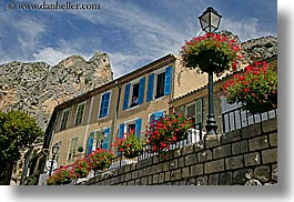 buildings, europe, flowers, france, horizontal, mountains, moustiers, provence, st marie, photograph
