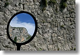 europe, france, horizontal, materials, mirrors, mountains, moustiers, provence, reflections, st marie, stones, photograph