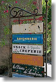 europe, france, moustiers, provence, signs, st marie, stacks, vertical, photograph