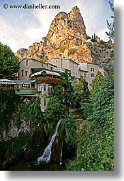 europe, france, mountains, moustiers, provence, restaurants, st marie, vertical, waterfalls, photograph