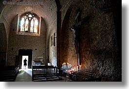 buildings, candles, churches, crosses, europe, france, horizontal, materials, monestaries, moustiers, notre dame de beauvoir, provence, religious, st marie, stained glass, stones, structures, photograph