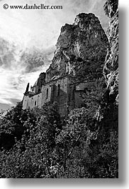 black and white, buildings, cliffs, europe, france, monestaries, mountains, moustiers, nature, notre dame de beauvoir, provence, religious, st marie, structures, vertical, photograph