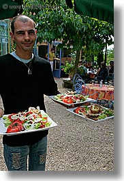 bald, emotions, europe, foods, france, happy, men, moustiers, people, provence, salad, serving, st marie, vertical, waiter, photograph