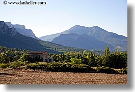 europe, farmhouse, france, horizontal, mountains, moustiers, provence, scenics, st marie, photograph