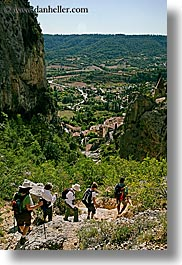 activities, backpack, clothes, europe, france, hikers, hiking, landscapes, moustiers, people, provence, scenics, st marie, vertical, photograph