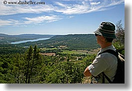 backpack, clothes, europe, france, hats, horizontal, lakes, landscapes, men, moustiers, nature, provence, scenics, st marie, viewing, water, photograph