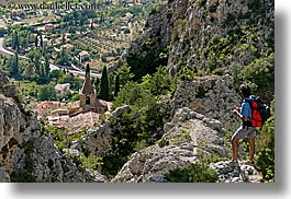 backpack, clothes, europe, france, horizontal, landscapes, men, moustiers, provence, scenics, st marie, viewing, photograph