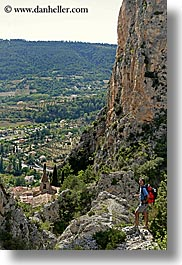 backpack, clothes, europe, france, landscapes, men, moustiers, provence, scenics, st marie, vertical, viewing, photograph