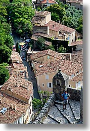 cobblestones, europe, france, materials, men, moustiers, overlook, people, provence, scenics, st marie, towns, vertical, photograph