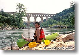 canoes, europe, france, horizontal, men, oars, people, provence, riverbank, rppl, photograph