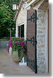 doors, europe, flowers, france, nature, provence, purple, restaurants, vertical, photograph