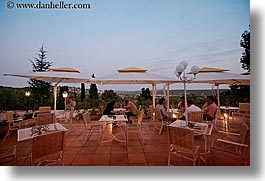 dusk, europe, france, horizontal, patio, provence, restaurants, photograph