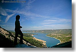 aerials, blues, colors, europe, france, hikers, horizontal, lakes, people, perspective, provence, scenics, silhouettes, womens, photograph