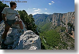 canyons, cliffs, europe, france, hikers, horizontal, men, mountains, nature, nicos, people, provence, scenics, photograph