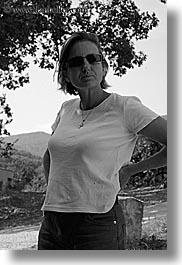 black and white, clothes, europe, france, irises, people, provence, seillans, sunglasses, valley, vertical, womens, photograph