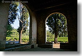 archways, colors, europe, france, green, horizontal, nature, plants, provence, seillans, structures, trees, photograph