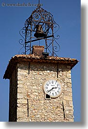 bell towers, clocks, europe, france, provence, seillans, vertical, photograph