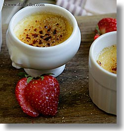 creme brulet, desserts, europe, foods, france, provence, seillans, square format, strawberries, photograph