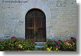 arches, archways, doors, europe, flowers, france, horizontal, materials, nature, provence, seillans, stones, structures, photograph