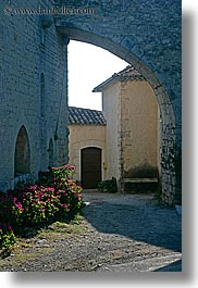 arches, archways, europe, flowers, france, half, provence, seillans, structures, vertical, photograph