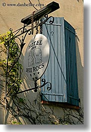 blues, europe, france, hotels, provence, seillans, shutters, signs, vertical, photograph