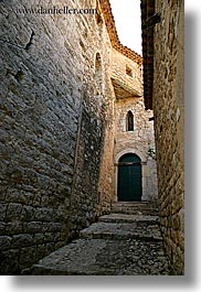 alleys, cobblestones, doors, europe, france, green, materials, narrow, provence, seillans, stones, vertical, photograph