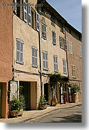 buildings, europe, france, materials, old, provence, seillans, shuttered, stones, vertical, windows, photograph
