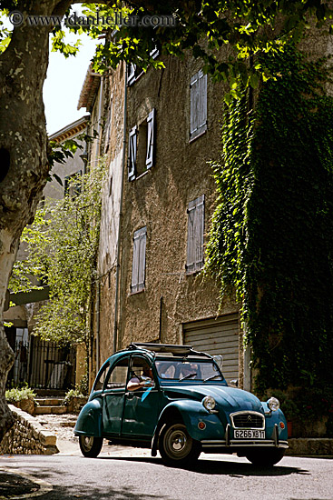 old blue car and ivy covered building 2. Black Bedroom Furniture Sets. Home Design Ideas