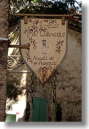 europe, france, old, provence, seillans, signs, vertical, photograph