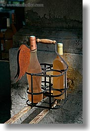 bottles, carrier, europe, france, irons, old, provence, seillans, vertical, wines, photograph