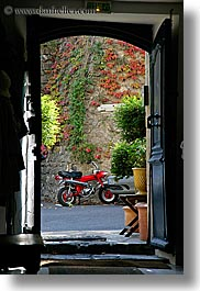 colors, doorways, europe, france, ivy, motorcycles, nature, plants, provence, red, seillans, vertical, photograph