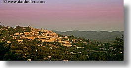 cityscapes, colors, europe, france, horizontal, panoramic, pink, provence, st paul, sunsets, photograph