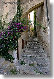 arches, archways, bougainvilleas, cobblestones, europe, flowers, france, materials, nature, provence, st paul, stairs, stones, structures, vertical, photograph