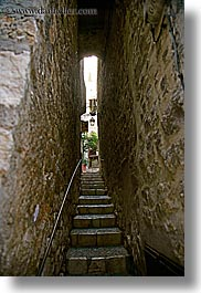 archways, europe, france, materials, narrow, provence, st paul, stairs, stones, structures, tunnel, vertical, very, photograph