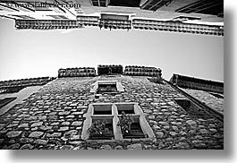 black and white, buildings, europe, france, horizontal, materials, provence, st paul, stones, upview, windows, photograph