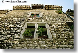 buildings, europe, france, horizontal, materials, provence, st paul, stones, windows, photograph