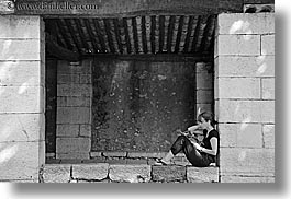 black and white, europe, frames, france, horizontal, materials, people, provence, reading, st paul, stones, womens, photograph