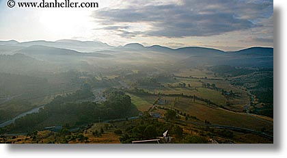 europe, fog, foggy, france, hills, horizontal, nature, panoramic, provence, scenics, towns, trigance, valley, photograph